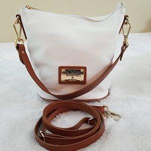 Valentina Italia White Leather Crossbody Bag